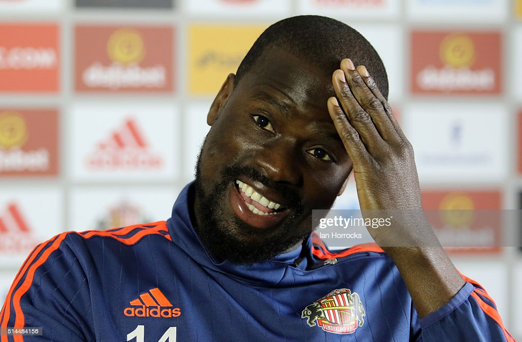 New Sunderland signing Emmanuel Eboue is pictured while being interviewed at the Academy of Light on March 09, 2016 in Sunderland, England.