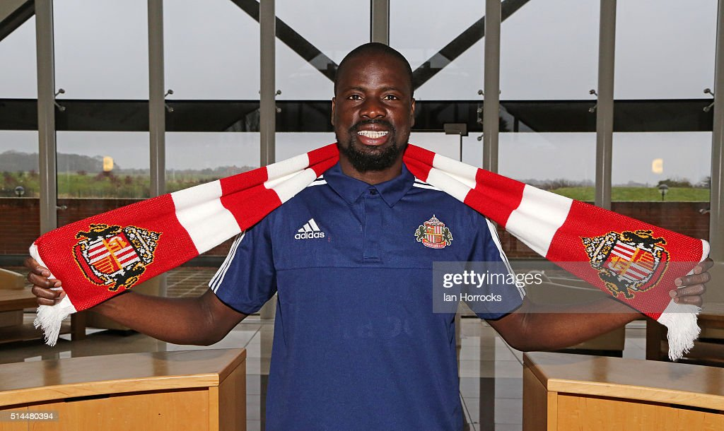 New Sunderland signing Emmanuel Eboue, pictured at the Academy of Light on March 09, 2016 in Sunderland, England.