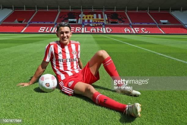 New Sunderland signing Luke O'Nien at The Stadium of Light on July 30, 2018 in Sunderland, England.