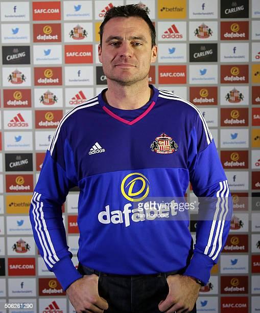 New Sunderland signing Steven Harper pictured in a Sunderland goalkeeper's top at The Academy of Light on January 22, 2016 in Sunderland, England.