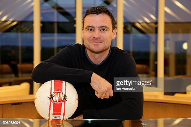 New Sunderland signing Steven Harper pictured with a Sunderland ball at The Academy of Light on January 22 2016 in Sunderland England