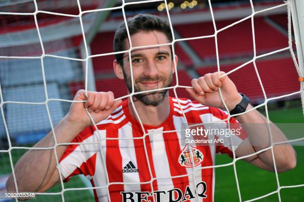 New Sunderland signing Will Grigg at Stadium of Light on February 1, 2019 in Sunderland, England.
