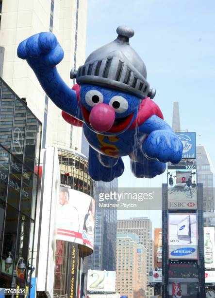 New Super Grover Balloon participates in The 77th Annual Macys Thanksgiving Day Parade on November 27 2003 in New York City