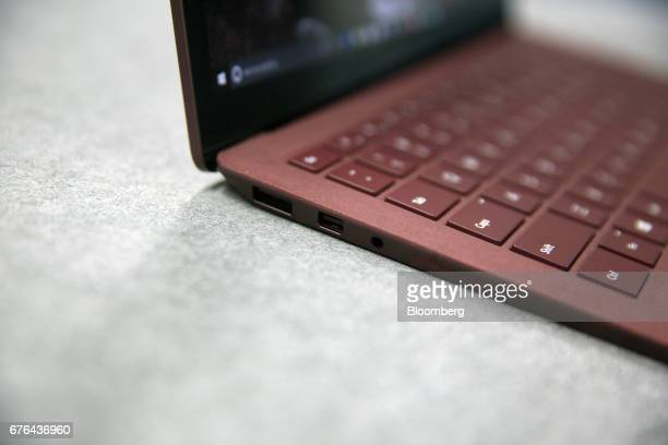 New Surface Laptop computer is displayed at the hardware lab of the Microsoft Corp. Main campus in Redmond, Washington, U.S., on Thursday, April 20,...