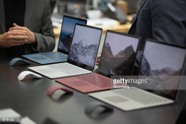 New Surface Laptop computers are displayed at the hardware lab of the Microsoft Corp. Main campus in Redmond, Washington, U.S., on Thursday, April...