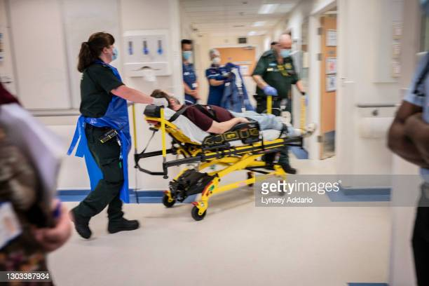 New, suspected COVID-19 patient is brought into the A&E of the University Hospital Coventry on May 25, 2020 in Coventry, United Kingdom. Like many...