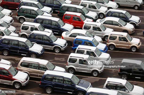 New Suzuki cars and vans parked at Avonmouth docks near Bristol, UK.
