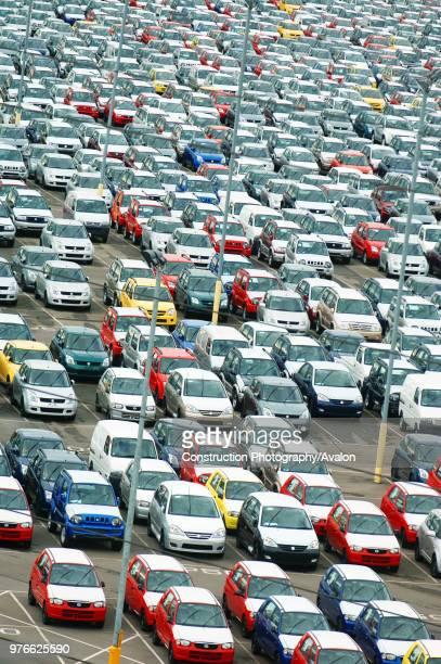 New Suzuki cars and vans parked at Avonmouth docks near Bristol UK