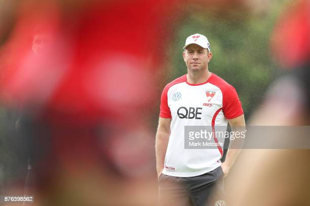 New Swans assistant coach Steve Johnson looks on during a Sydney Swans AFL preseason training session at Sydney Grammar on November 20 2017 in Sydney...