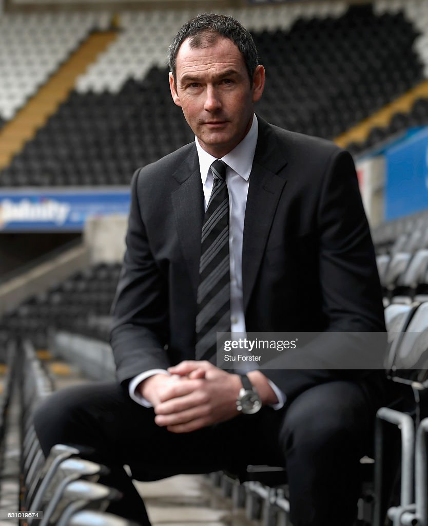 New Swansea City head coach Paul Clement faces the media at the Liberty Stadium on January 5, 2017 in Swansea, Wales.