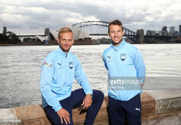 New Sydney FC signings Siem de Jong and Adam Le Fondre pose during a Sydney FC A-League media opportunity at Mrs Macquarie's Point on August 23, 2018...