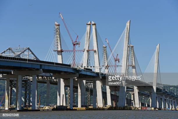new tappan zee bridge  built by the state of new york will be called will be called the mario m. cuomo bridge. - cuomo stock pictures, royalty-free photos & images