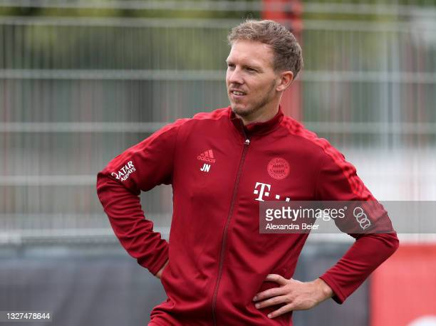 New team coach Julian Nagelsmann of FC Bayern Muenchen is pictured during the first training session of the upcoming season 2021/2022 on July 07,...
