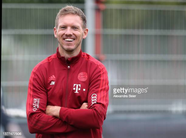New team coach Julian Nagelsmann of FC Bayern Muenchen smiles during the first training session of the upcoming season 2021/2022 on July 07, 2021 in...