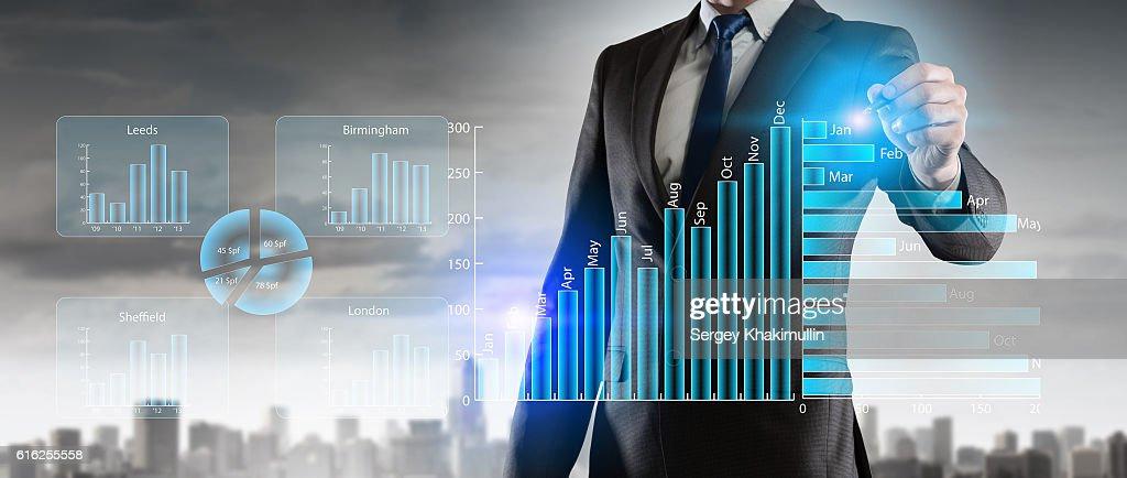 Novas tecnologias para o negócio. Técnica Mista : Foto de stock