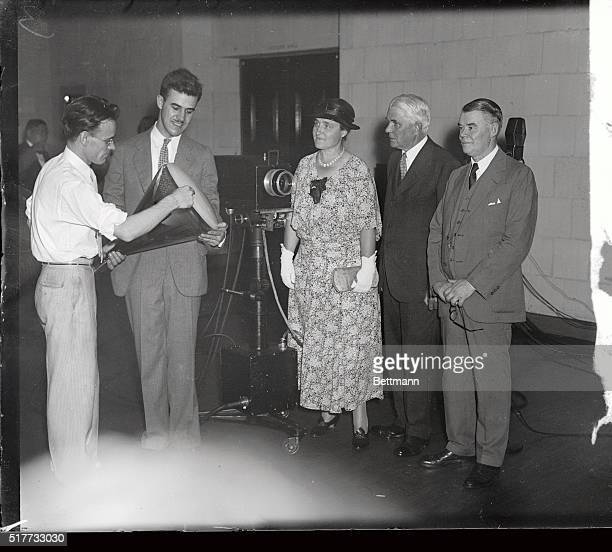 A new television set invented by PT Farnsworth was shown to the public for the first time at the Franklin Institute Philadelphia August 24th Photo...