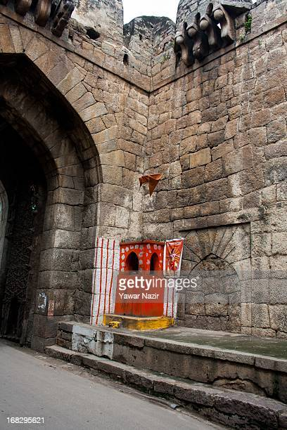A new temple constructed by Hindus is seen inside the Golkonda Fort in Hyderabad on May 8 2013 in Hyderabad India The Golkonda fort is one of India's...