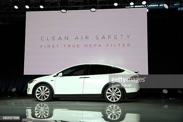 A new Tesla Model X Crossover SUV is displayed on September 29 2015 in Fremont California After several production delays Tesla CEO Elon Musk...
