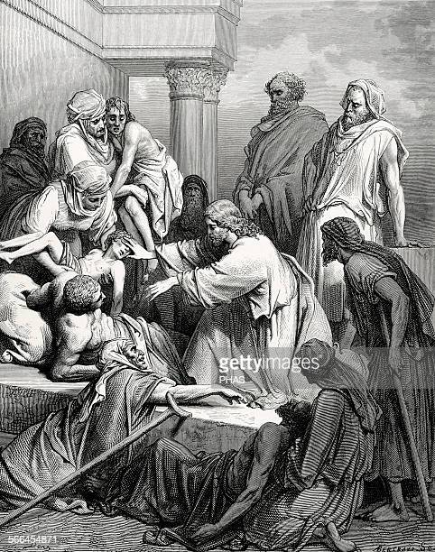 New Testament Jesus healing the sick Gospel of Matthew Chapter IV Verses 2325 Drawing by Gustave Dore Engraving by Bertrand 19th century