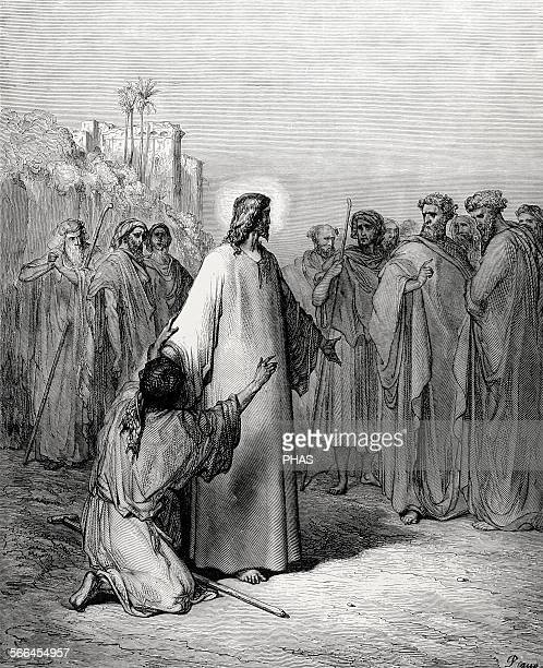 New Testament Jesus heals a demonpossessed dumb Gospel of Matthew Chapter IX Verses 3238 Drawing by Gustave Dore Engraving by Piaud 19th century