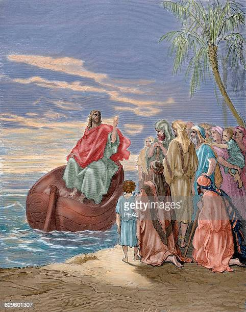 New Testament Jesus preaching in the Sea of Galilee Gospel of Luke Chapter IV Verses 13 Gustave Dore drawing Engraving by Hildebrand 19th century...