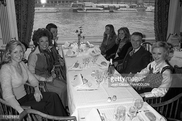 New TF1 TV announcers In Paris France On January 02Nd 1974 Jean Cazeneuve between Evelyne Leclercq and Christine Fabrega Denise Fabre