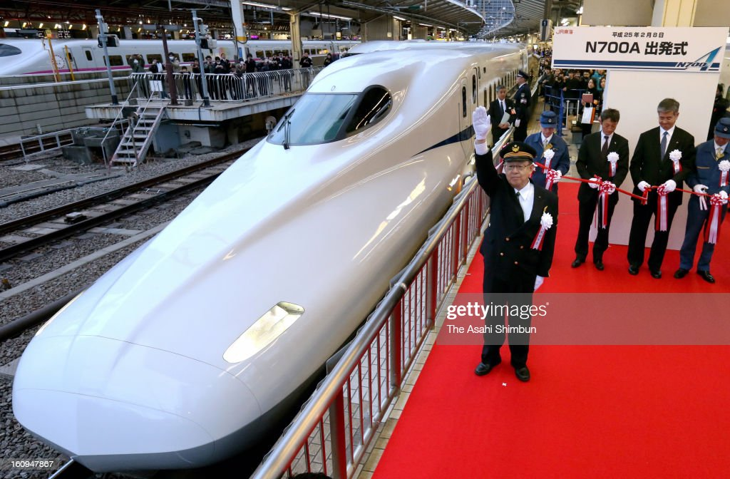 New Tokaido Shinkansen bullet train N700A is seen during the launching ceremony at Tokyo Station on February 8, 2013 in Tokyo, Japan. The new train, boasting an automated speed control system and a host of passenger-friendly features, makes its commercial debut.