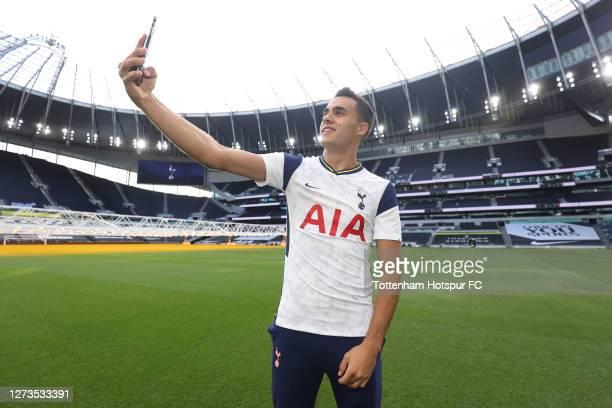 New Tottenham Hotspur signing Sergio Reguilon visits the Tottenham Hotspur Stadium on September 19, 2020 in London, England.