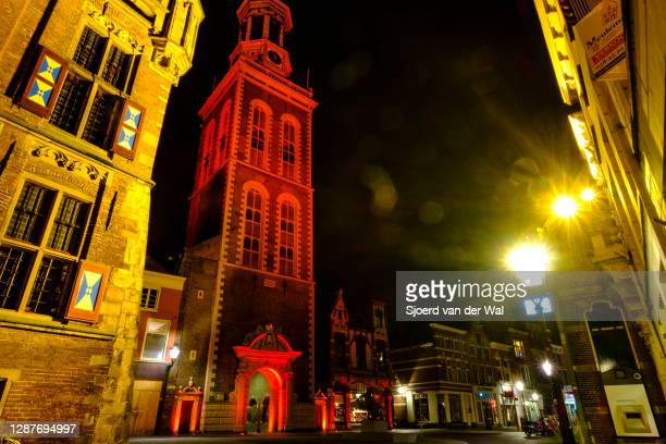 New tower illuminated in orange color for International Day for the Elimination of Violence against Women on November 25 in Kampen, Overijssel, The...