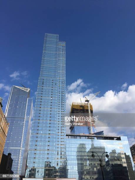 new towers in hudson yards neighborhood, new york - barry crane stock photos and pictures