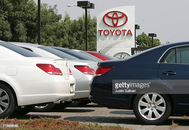 New Toyota cars are parked on the lot at Freeman Toyota August 2 2006 in Santa Rosa California Toyota slipped past Ford Motor Company in July sales...