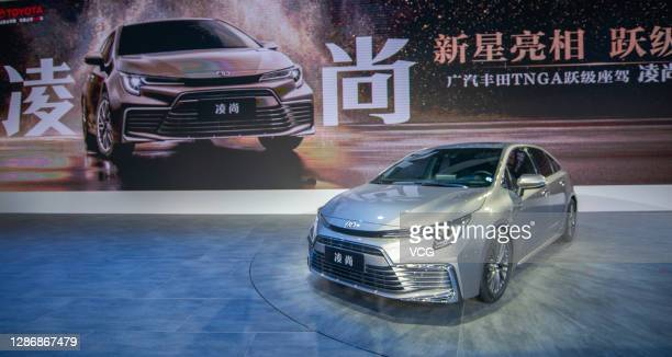 New Toyota Levin car is on display during the 18th Guangzhou International Automobile Exhibition at China Import and Export Fair Complex on November...