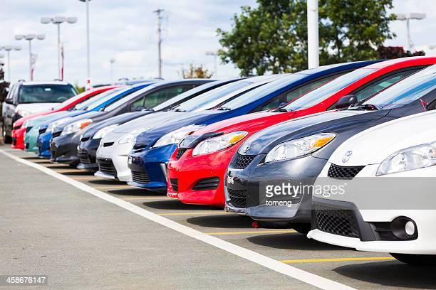 New Toyota Vehicles in a Row at Car Dealership
