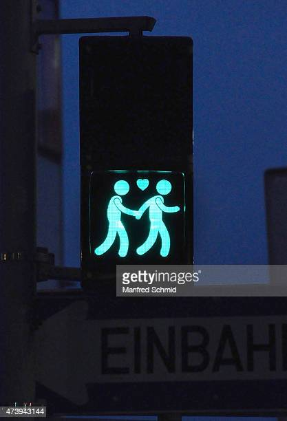 A new traffic light showing a samesex couple is pictured ahead of the Eurovision Song Contest and the charity event Life Ball 2015 on May 13 2015 in...