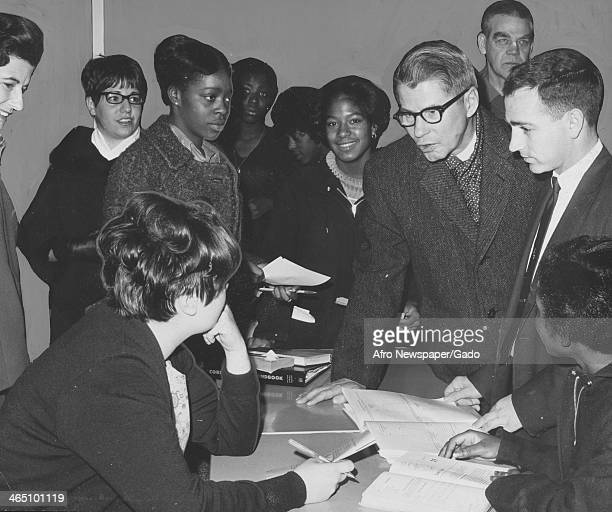 New trainees meet at the training center as part of Job Corps, a program of Lyndon Johnson's War on Poverty, Poland Spring, Maine, 1968.