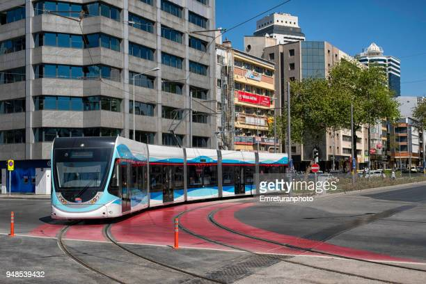 new tram line at gazi boulevard in izmir. - emreturanphoto stock pictures, royalty-free photos & images