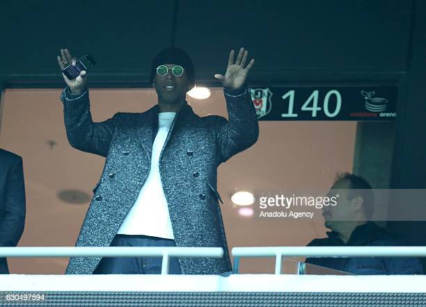 New transfer of Besiktas Ryan Babel watches the Turkish Spor Toto Super Lig match between Besiktas and Gaziantepspor at Vodafone Arena in Istanbul...