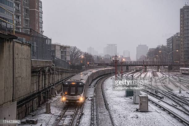 CONTENT] A new TTC subway train makes it's way into Davisville Station in the Winter