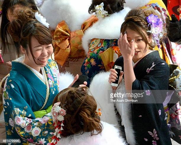 New twentyyearold gather to the comingofage cerermony on January 11 2015 in Takamatsu Kagawa Japan Young people celebrate their passage into...