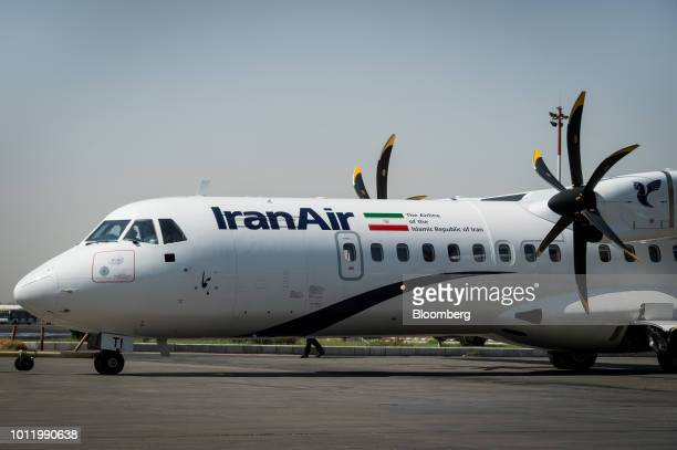 A new twin engine ATR 72600 turboprop aircraft taxis into position after landing at Mehrabad International airport in Tehran Iran on Sunday Aug 5...