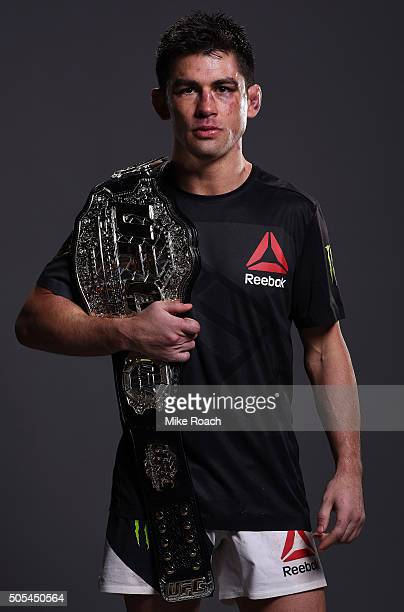 New UFC bantamweight champion Dominick Cruz poses for a portrait backstage after his victory over TJ Dillashaw during the UFC Fight Night event...