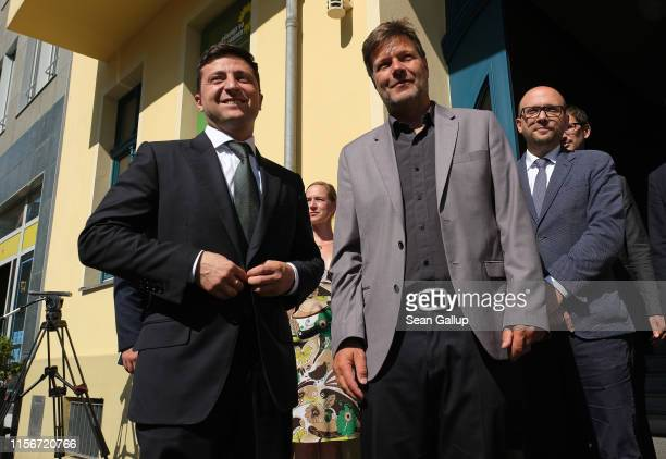New Ukrainian President Volodymyr Zelensky arrives to meet with Robert Habeck, co-leader of the German Greens Party, at Greens Party headquarters on...