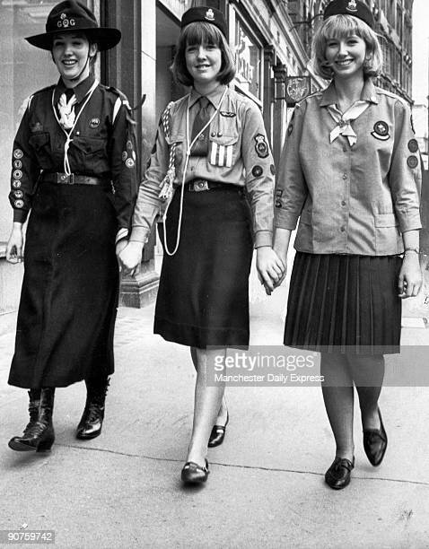 New uniform with airhostessstyle hat and vneck collar launched at a fashion parade at the London Girl Guides HQ Instead of a blouse there is now a...