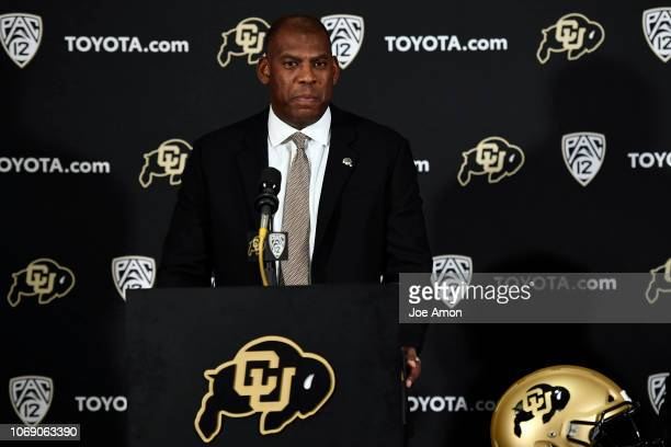 New University of Colorado Buffaloes head football coach Mel Tucker speaks during a press conference to introduce him to the media December 6 2018 in...