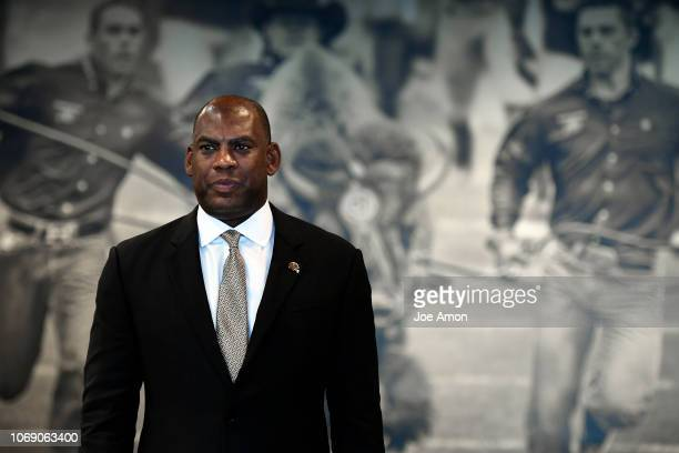 New University of Colorado Buffaloes head football coach Mel Tucker poses during a press conference to introduce him to the media December 6 2018 in...