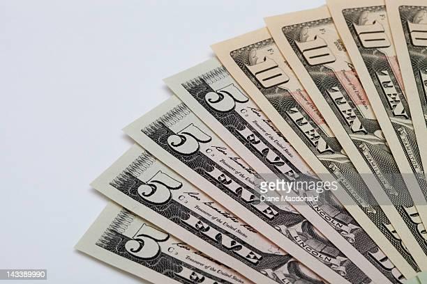 New US 5 and 10 dollar bills
