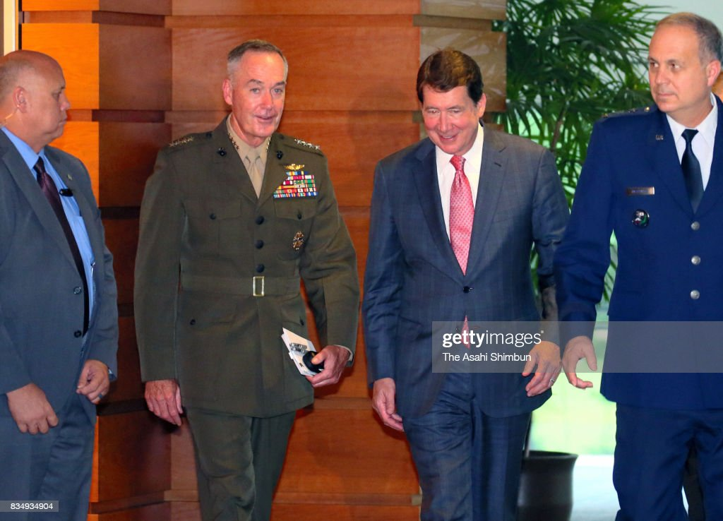 New U.S. Ambassador to Japan William Hagerty (2nd R) and General Joseph Dunford, chairman of the U.S. Joint Chiefs of Staff (2nd L) are seen after their meeting with Japanese Prime Minister Shinzo Abe (2nd L) at Abe's official residence on August 18, 2017 in Tokyo, Japan.
