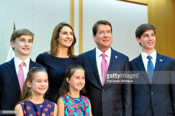 New US Ambassador to Japan William Hagerty and his family pose for photographs on arrival at Narita International Airport on August 17 2017 in Narita...