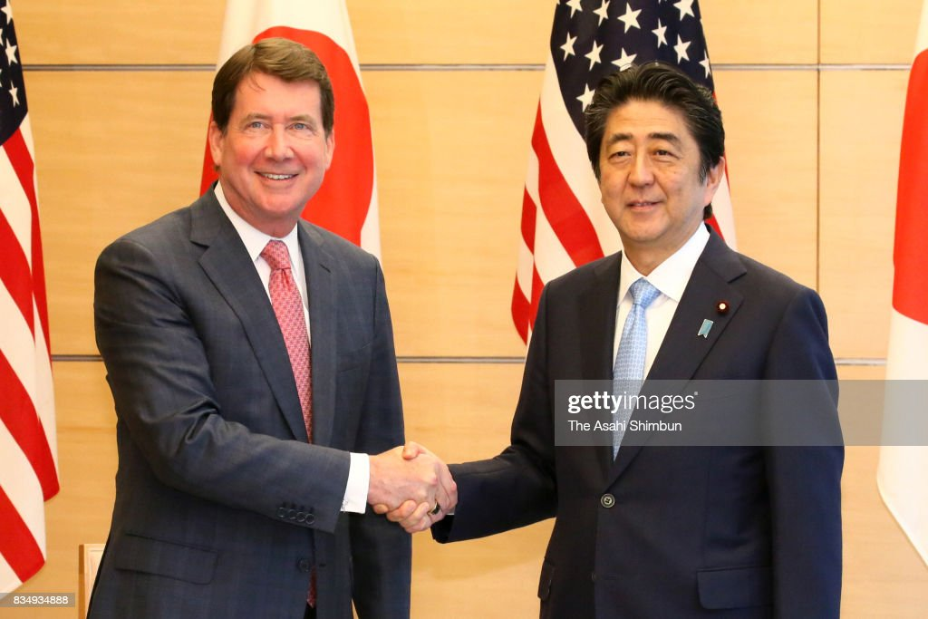 New U.S. Ambassador to Japan William Hagerty shakes hands with Japanese Prime Minister Shinzo Abe prior to their meeting at Abe's official residence on August 18, 2017 in Tokyo, Japan.