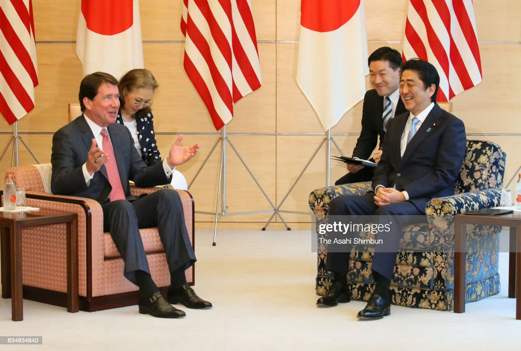 New U.S. Ambassador to Japan William Hagerty talks with Japanese Prime Minister Shinzo Abe prior to their meeting at Abe's official residence on August 18, 2017 in Tokyo, Japan.